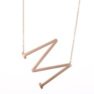 "18K Rose Gold Plated Initial Charm Necklace ""M"""